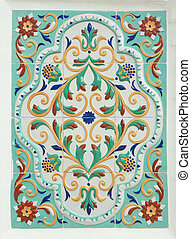 Yaroslavsky tile. Traditional folk painting - Wall tile....