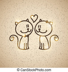 cats couple - wedding invitatiom with two hand drawn cats