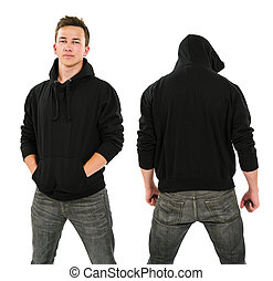 Male with blank black hoodie - Photo of a male in his late...