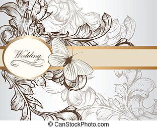 Elegant wedding invitation card for - Vector hand drawn...