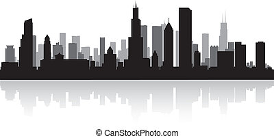Chicago city skyline silhouette - Chicago USA city skyline...