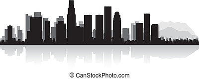 Los Angeles city skyline silhouette - Los Angeles USA city...