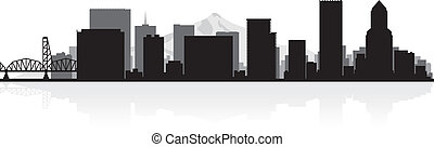 Portland city skyline silhouette - Portland USA city skyline...