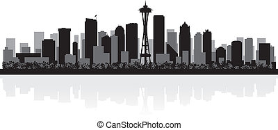 Seattle city skyline silhouette - Seattle USA city skyline...
