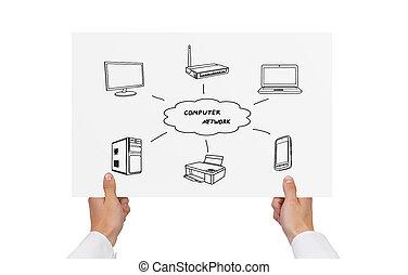 computer network scheme - paper with computer network scheme...