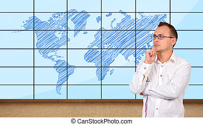 world map plasma panel - thinking businessman and world map...
