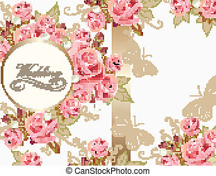 Wedding greeting card design with r - Wedding vector...