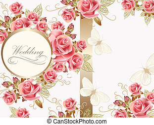 Wedding greeting card design with roses - Wedding vector...