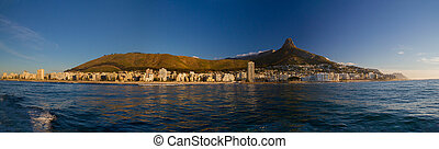 Cape Town, Lions head, Signal hill as viewed from the sea,...