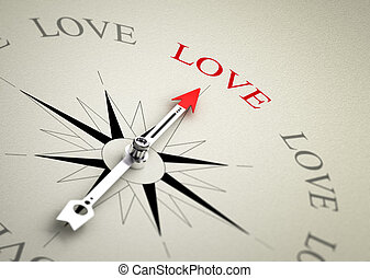 Love Coaching or Counselling - Compass with arrow pointing...