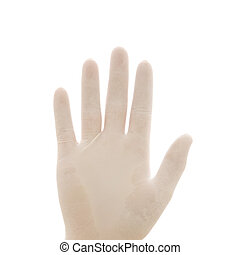 Hand in rubber glove - Hand wearing white rubber glove