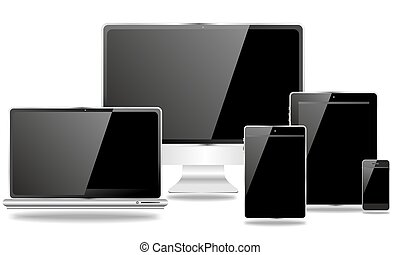 desktop and mobile devices with black screen