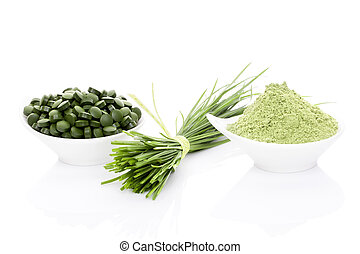 Wheatgrass, chlorella and spirulina. - Wheatgrass in powder,...