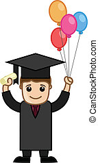 Graduate Man Holding Balloons - Drawing Art of Young Happy...