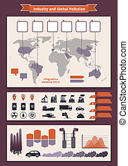 Infographics elements about industry and pollution - Vector...