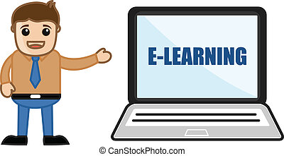 Man Standing with E-Learning Laptop - Drawing Art of Cartoon...