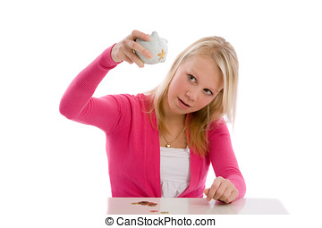 Where is the rest - Cute teenager holding her piggybank...
