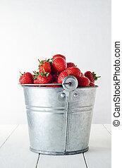 fraise, récolte, côté, vue