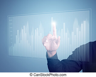 Business man hand pressing a chart - Business man hand...