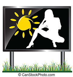 girl and sun on a billboard vector illustration