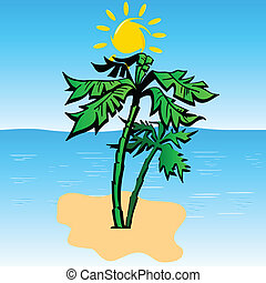 palm on the island art vector illustration