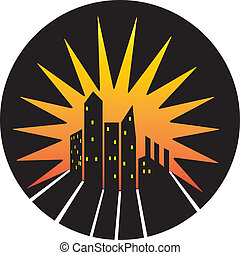 City skyline silhouette icon - Vector silhouette skyline of...