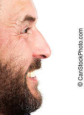Side portrait closeup of mature adult man, laughing