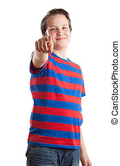 Teenage boy (Causian), pointing at camera - Waist up...