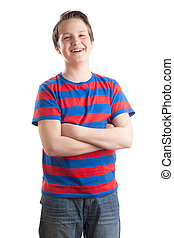 Teenage boy (Causian) waist up portrait, laughing - Waist up...