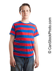 Teenage boy Causian waist up portrait - Waist up portrait of...