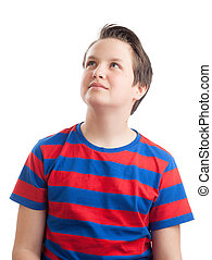 Teenage boy Causian waist up portrait, looking up - Waist up...
