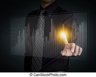 Business man hand pressing a chart - Business man hand...