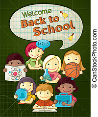 School Concept Illustration With Cu - Vector Illustration...