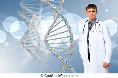 DNA strand illustration - Image of DNA strand against colour...