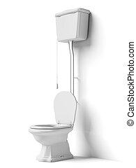 Toilet bowl with flush tank