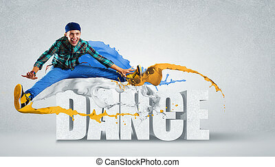 Modern style dancer jumping and the word Dance. Illustration