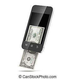 Modern mobile phone with hundred dollar isolated on a white...