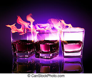 Three glasses of burning purple absinthe - Image of three...