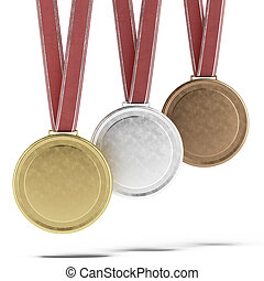 Three Medals isolated on a white background
