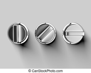 Three metal buttons