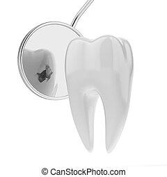 歯, 歯科医, 口, 鏡