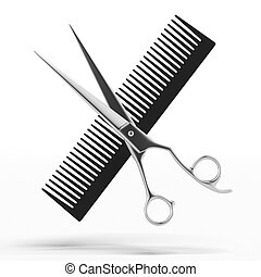 Scissors and Comb - isolated on a white background