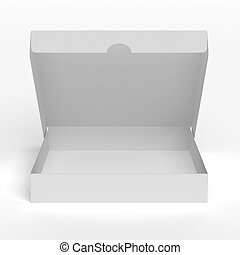 Blank flat opened box isolated on a white background