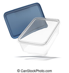 Opened plastic transparent food container isolated on a...