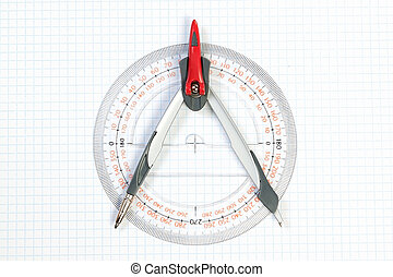 Tools for Plotting compass and protractor. On a white background.