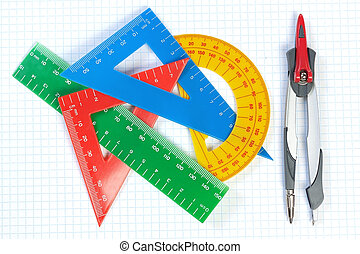 Set of multicolored lines of triangles, protractors and Caliper. On a white background.