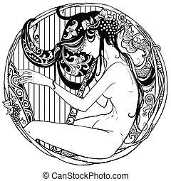 Detailed art-deco decorative vignette - modern satyr female...