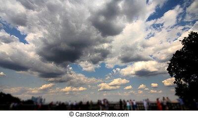 tourists on observation deck Vorobyovy Gory time lapse