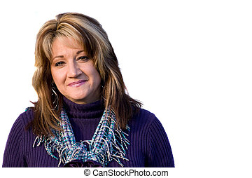 Smiling Woman - A pretty middle aged woman with a very...