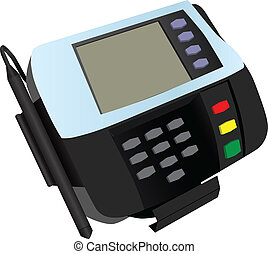 Magnetic card reader at banks and stores with a sticker...